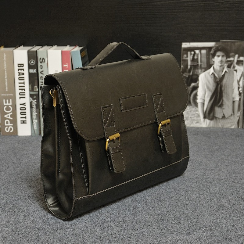 Vintage Men Business Real Genuine Leather Briefcase Travel Causal Shoulder Messenger Portfolio Laptop Bags Lawer Handbag Bolsa (2)
