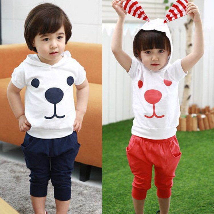 summer children clothes set baby boy girls clothing sets cotton dog short sets t shirt+pants 2-8T, 3(China (Mainland))