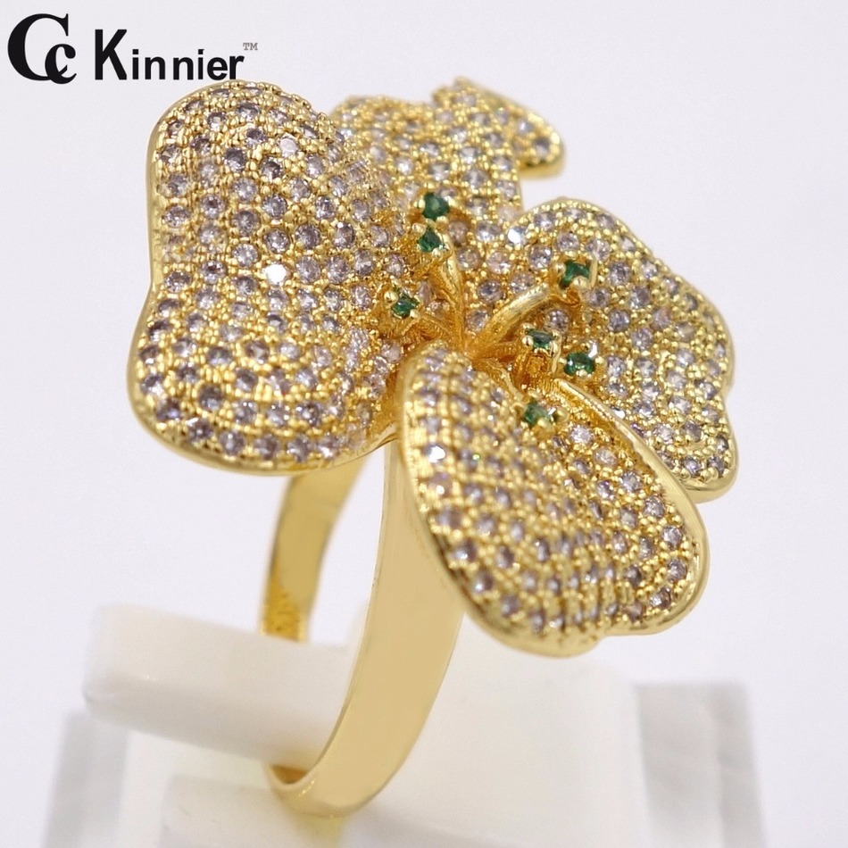 New dubai copper ring high quality 18k gold plated crystal for Dubai gold wedding rings