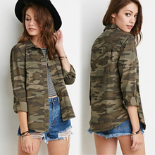 Fashion Women Camouflage Shirts Casual Turn Down Collar Long Sleeve Camouflage Button Dwon Shirts Lady Cool Army Shirt Tees 147(China (Mainland))