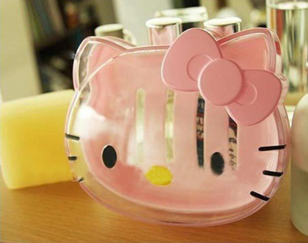 Kawaii Transparent Hello Kitty Soap Box,Soap Case,Bathroom Stuff Accessories for Bathroom Retail K6488 MiChen(China (Mainland))