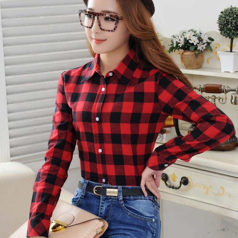 2015 spring New Casual Button Down Lapel Neck Plaids Checks Flannel Shirts Women Long Sleeve Tops Blouse(China (Mainland))