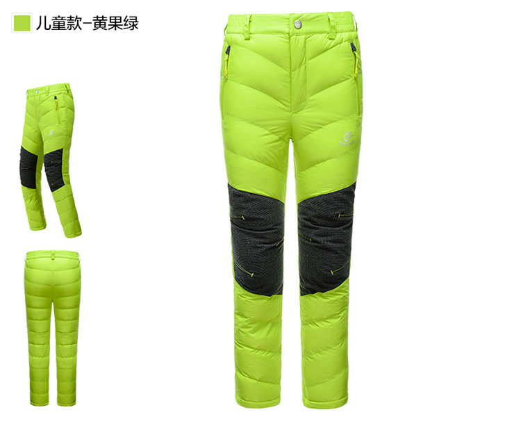 2017 Children Camping Windproof Keep Warm Down Pants Kids Trekking Pants Hunting Clothes For Winter PW5231