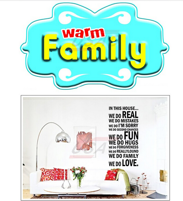 2015 New Design Family House Rules Wall Paper Decals Removable Art Vinyl Decor Home Wall Stickers For Kids Rooms Black(China (Mainland))