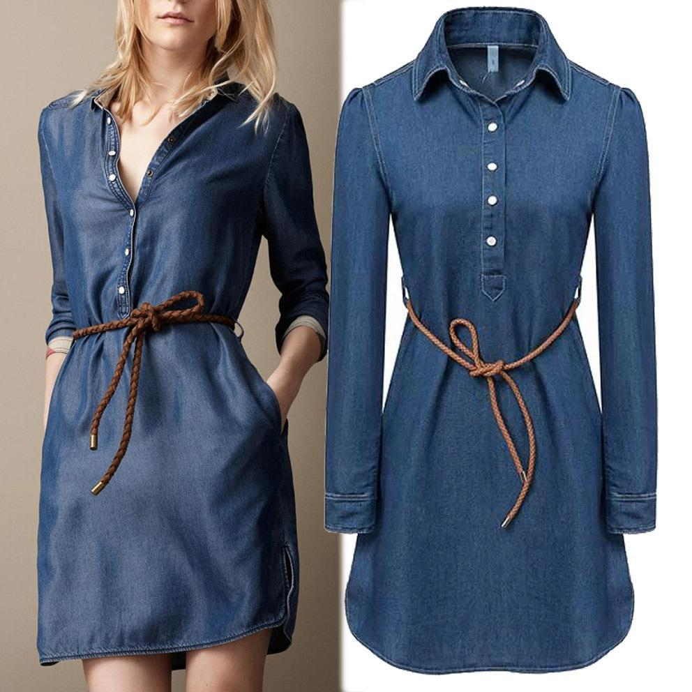 Lastest Women39s Denim Long Sleeve Shirt Dress  Women39s Skirts And Dresses