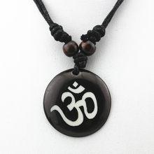 AUM OM Ohm Hindu Phật Giáo Ấn Độ Giáo Yoga Ấn Độ yak bone Khắc Mặt Dây Chuyền Vòng Cổ Bùa Món Quà May Mắn Thời Trang Tribal Đồ Trang Sức MN578(China)