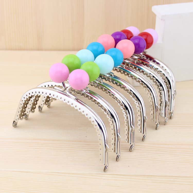Free Shipping,12.5cm shiny Silver Candy Bead Metal Purse Frame,Wallet Frame,18 Colors Cute Coin Purse Frames,18Pcs/Lot K062(China (Mainland))