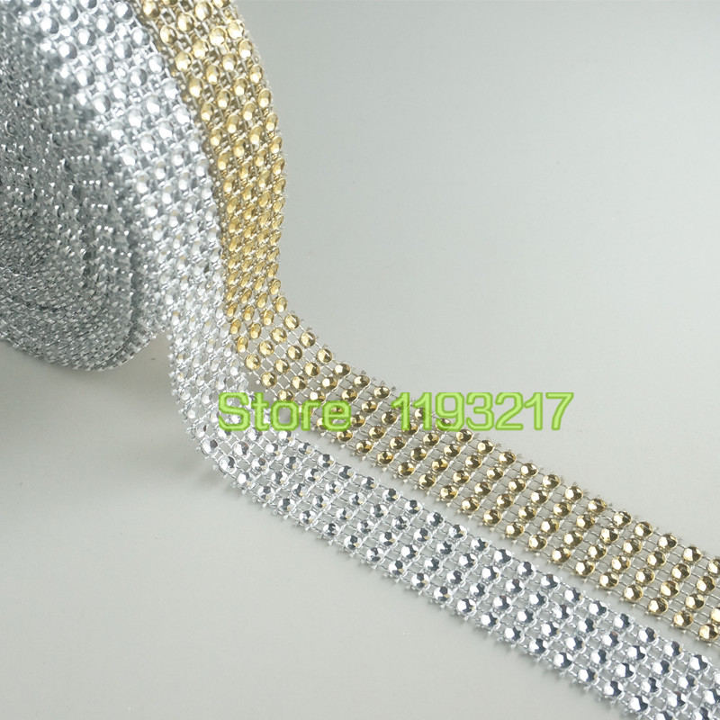 (3/4 inch)20mm Gold/Silver Acrylic bling (looks like Rhinestone) Diamond Wedding Party Cake Mesh Wrap Trim Ribbon Banding 10 Yards - Loving Home's Store store