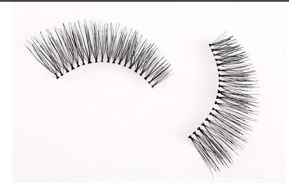 Real Human Hair False Eyelashes Natural 1 Pair Thick Makeup Big Eyes Cilios Naturais Eyelashes Extension Silk Lashes LAUKISS