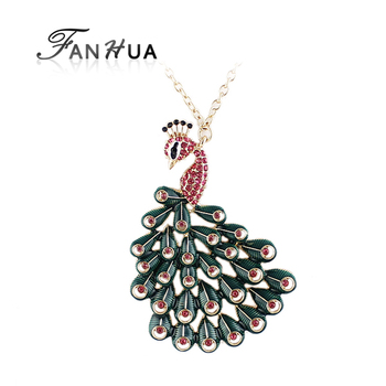 Costume Jewelry Colorful Peacock Gold Color Rhinestone Imitation Crystal Necklaces Pendants