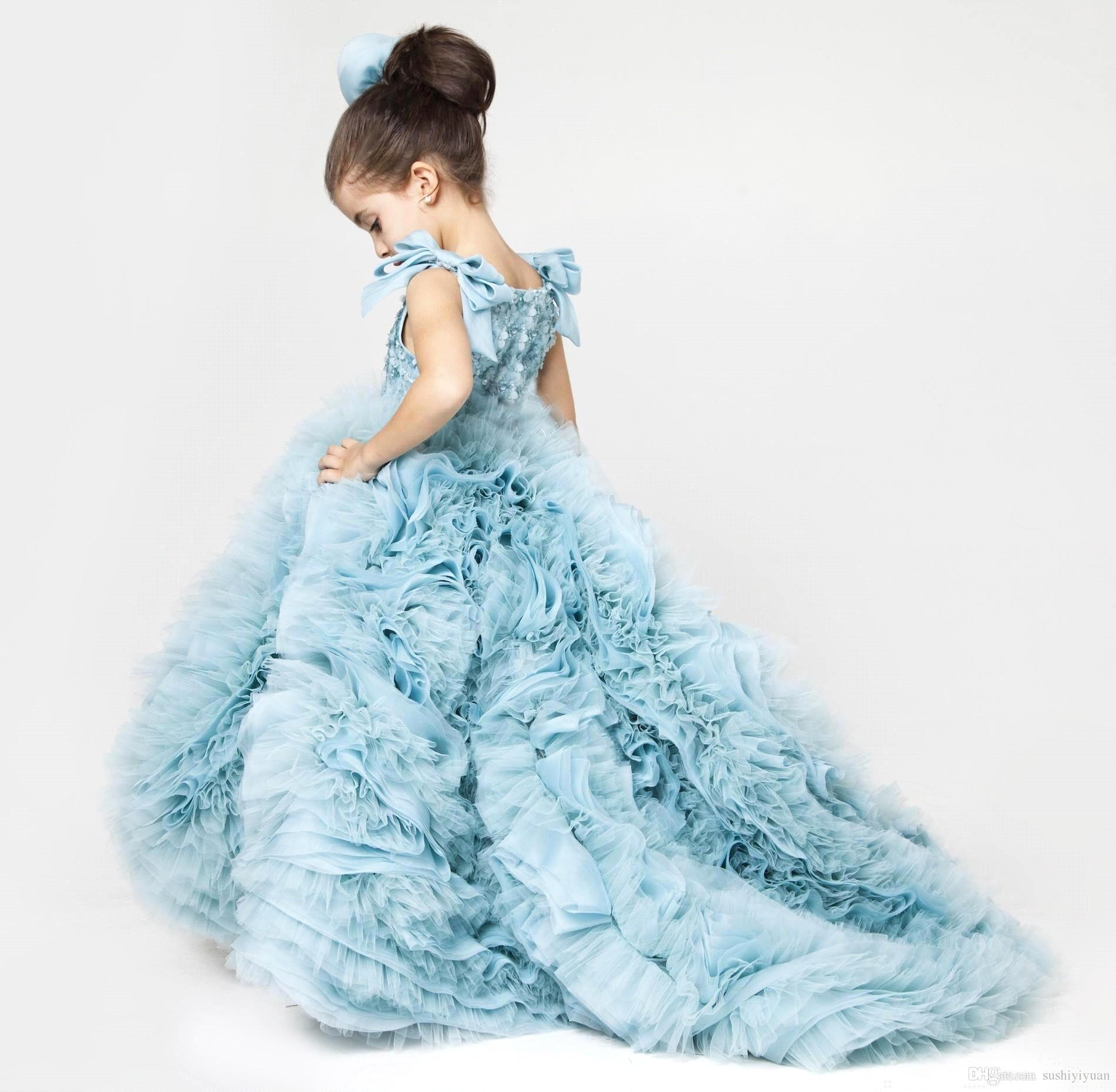 Cute Little Girl Dress Blue Ruffles Puffy Dresses Kids