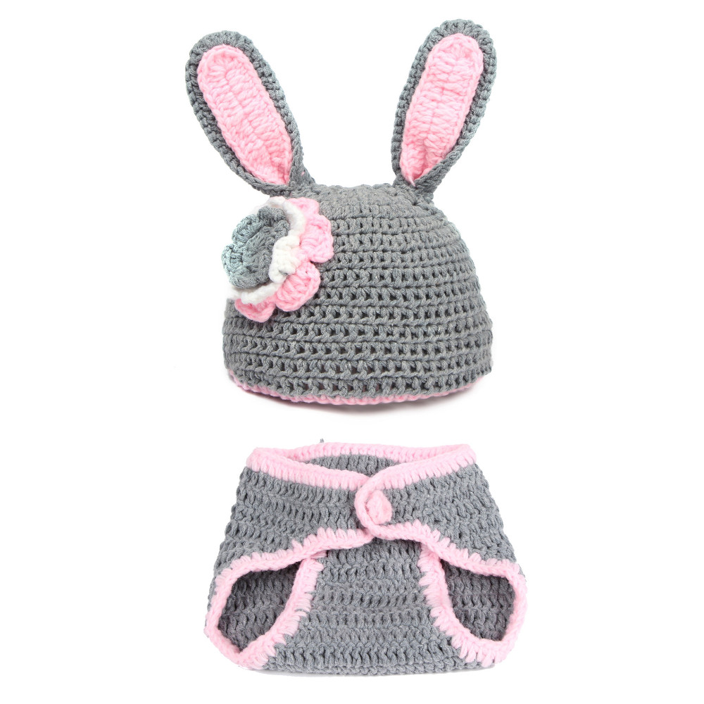 Fashion Newborn Baby Photo Props Outfit Costume Rabbit Knit Hat Pant Set Infant Phography Shoot Accessory S6032