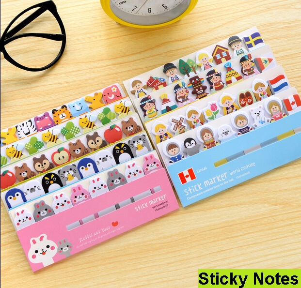 1pack/ lot Cartoon animals sticky note Post it stick & memo paper bookmark stationery office School supplies message post(China (Mainland))