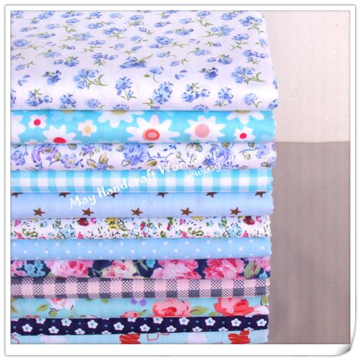 12pcs lot blue flowers printed 100 cotton patchwork for Children s cotton dress fabric