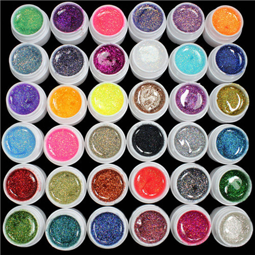 36 PCS Glitter Mix Colors& Solid UV Color Builder Gel Acrylic Set for Nail Art Tips Polish Salon Extension Manicure Nails Care(China (Mainland))