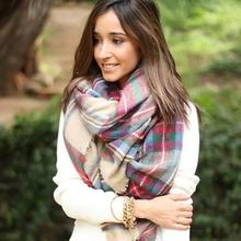New Lady Women Blanket Oversized Tartan Scarf Wrap Shawl Plaid Cozy Checked Pashmina #L033531