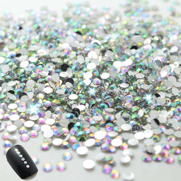 2015 New nail !2.0mm CLEAR ROUND RHINESTONES for Nail art decorations 1000pcs/bag ,2bags/lot.total 2000pcs nails(China (Mainland))