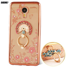 meizu m2 note Case Clear TPU Cover for Meizu M2 note Luxury Dimond Ultra-thin Silicone Case Shell Finger Ring Stand Holder 5.5