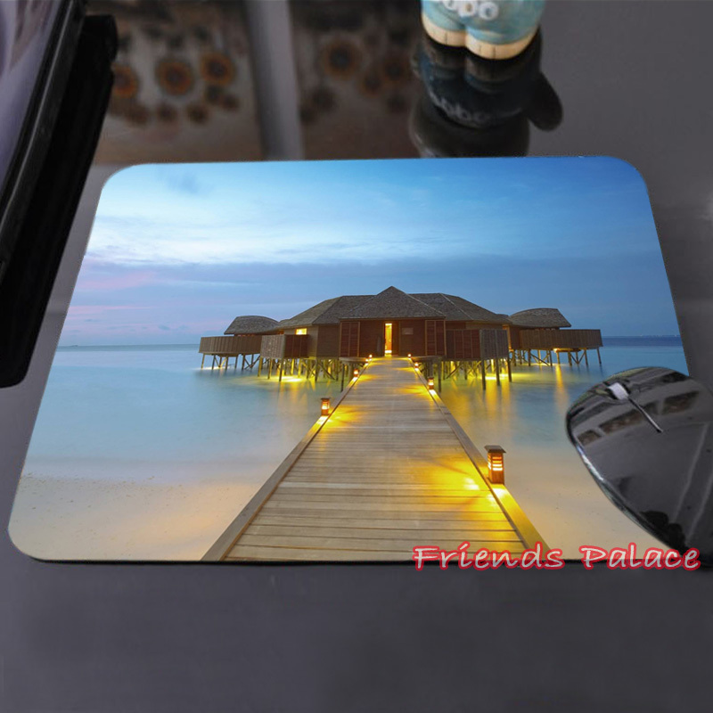Create Your Own Style Mouse Pad Grand Ocean Sky Blue Maldives Luxury Water Villa Custom-made Mouse Computer Notebook Mat Mat(China (Mainland))