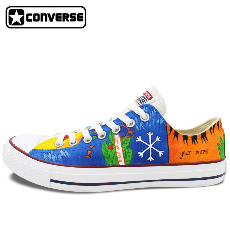 Low Top Women Men Converse Star Colourful Shoes ED Dog Paw Design Custom Hand Painted Canvas Sneakers Christmas Gifts - WenArtWork Store store