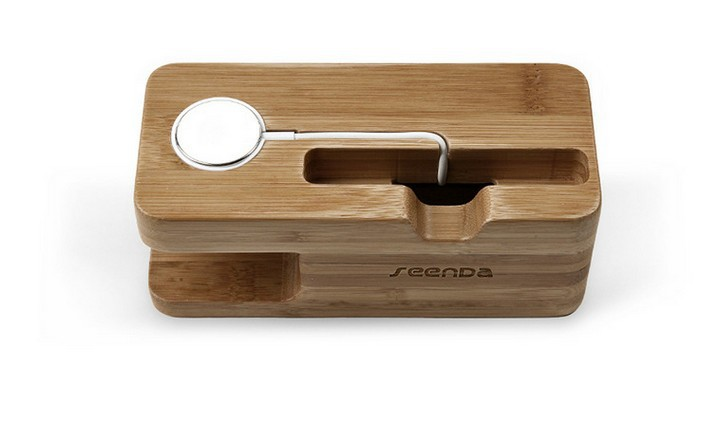 bamboo iwatch iphone holder