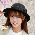 Spring Autumn Winter Grace Elegant Double Bow Bowknot Woolen Ladies Fedora Bucket Hat Felt Hat Trilby