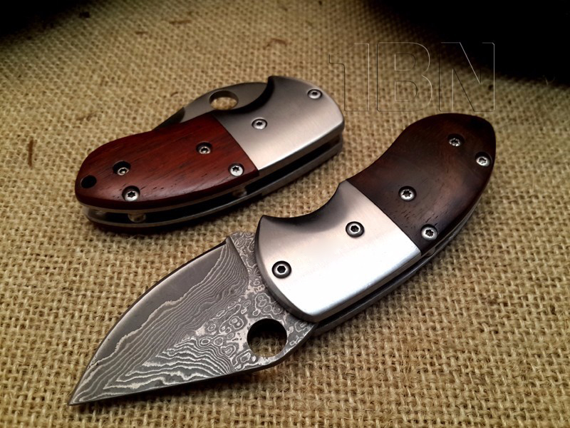LCM66 Shootey Damascus Folding Knife,Blade Cocobolo+Steel Handle Survival Knives,Mini Rescue Pocket Knife,Gift Knives Tools