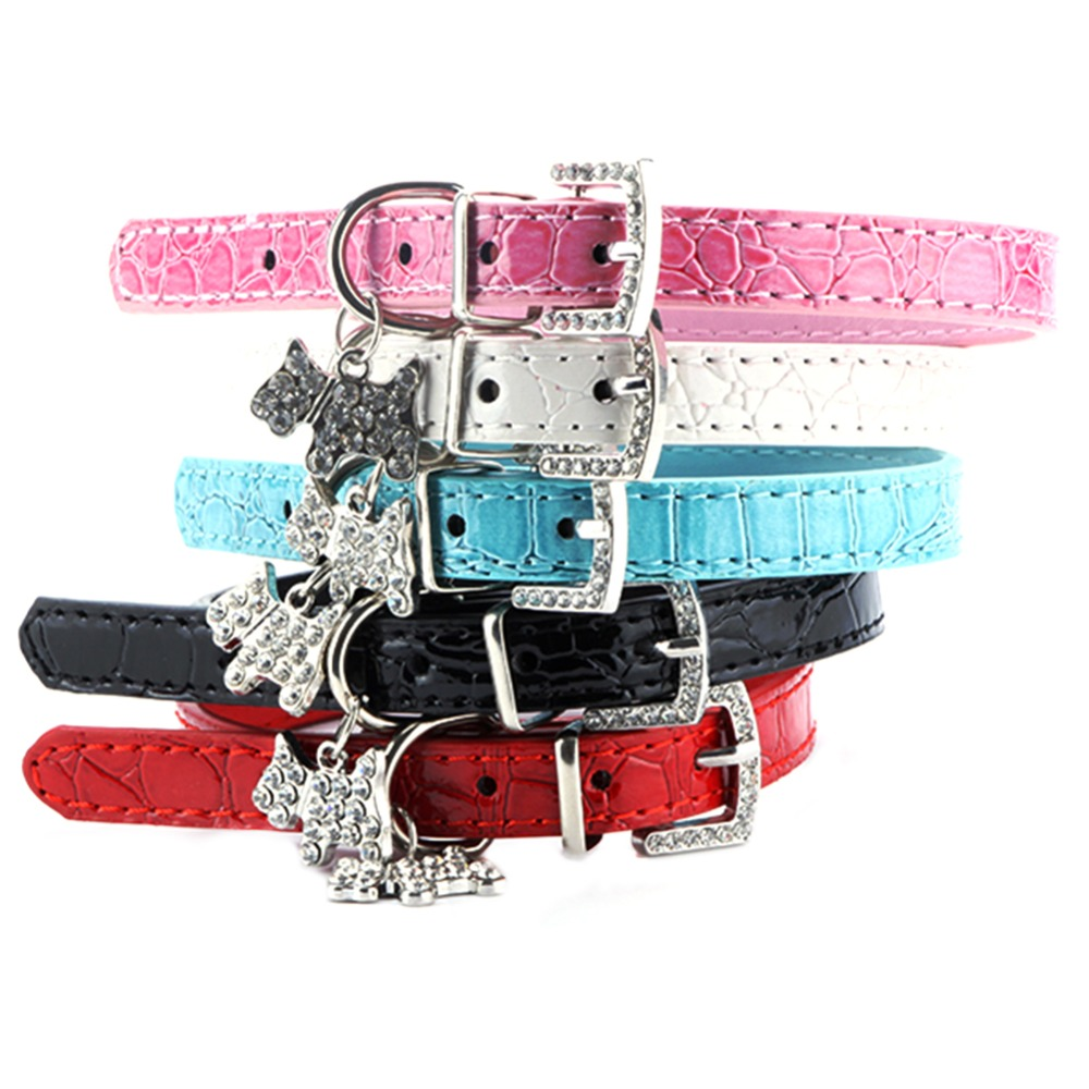 Adjustable Croc Leather Diamante Charm Pet Small Dog Puppy Cat Collar XS S M L(China (Mainland))