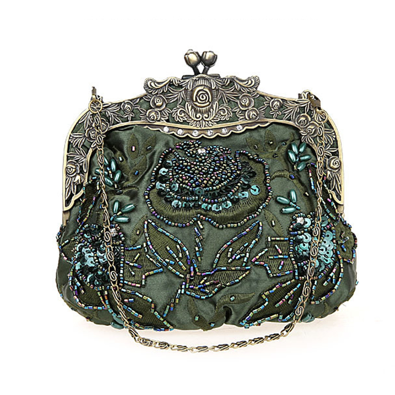 New vintage beaded evening bag embroidered