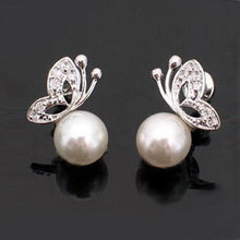 2016 high Quality Cute Ladies Womens Lovely Pearl Rhinestone Butterfly Design Earrings Ear Stud Ear jewelry Free Shipping