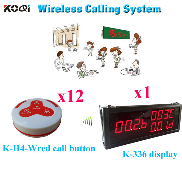 Wireless Service Button Pager System K-336 LED Monitor With K-H4 Transmitter( 1pcs display+ 12pcs call button)(China (Mainland))