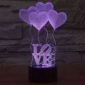 Lovely 3D Light Changeable Lamp 10 Style Visual Perspective Romantic Holiday Night Light Love Heart Wedding