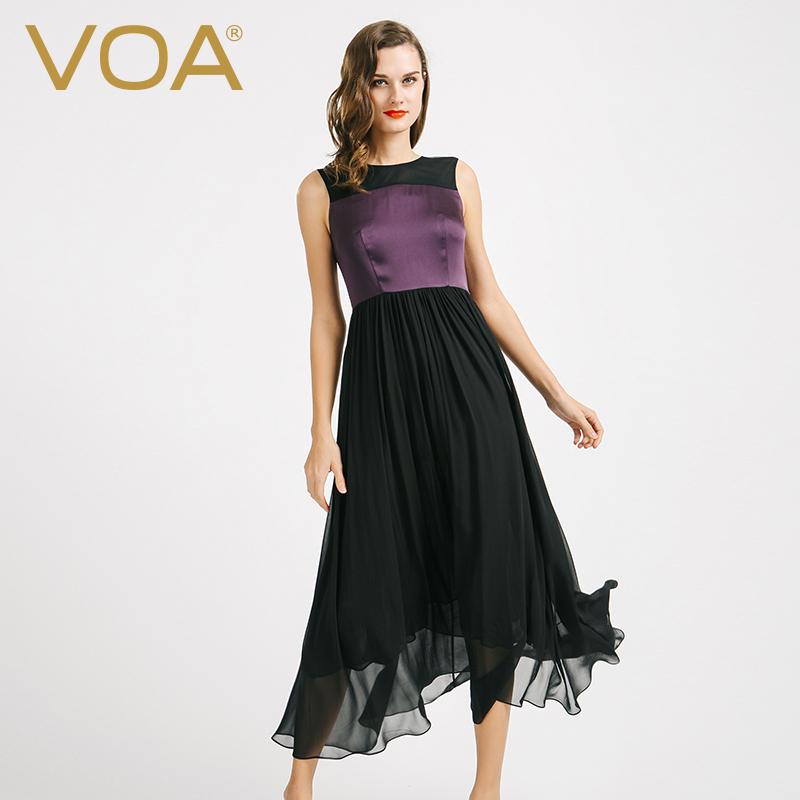 Autumn new VOA purple blace color mosaic sleeveless silk dress female slim simple long dresses A6721(China (Mainland))