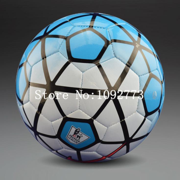 Free shipping 2015 season new premier league Soccer ball No.10 football ball PU size 5 ball for match training football(China (Mainland))
