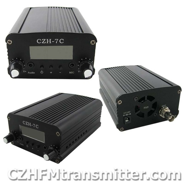 free shipping CZH-7C 5W FM stereo PLL broadcast transmitter 76-108MHZ