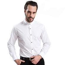 Col montant hommes robe chemises classique à manches longues mâle formel affaires Mandarin col chemise style chinois(China)