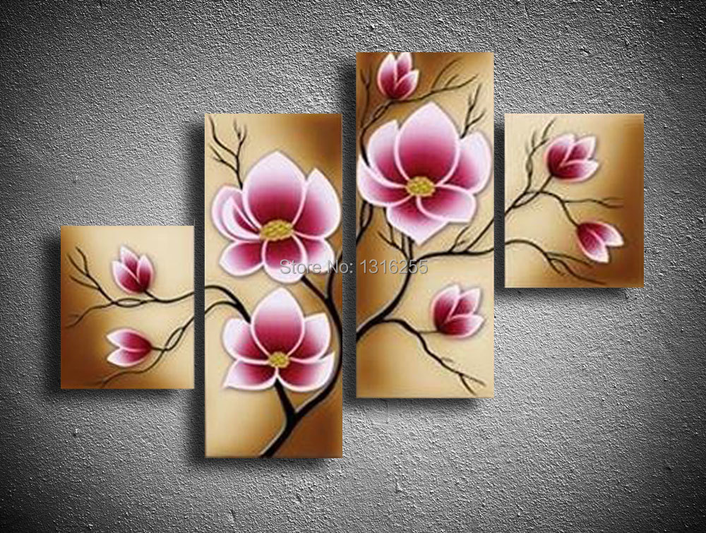 100 hand painted 4 pcs set pink modern decorative oil painting on canvas wall art flower - Toilet ontwerp deco ...