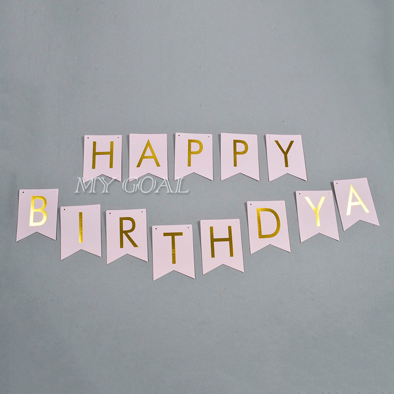 Pastel Pink Happy Birthday Banner Garland Hanging Gold Letters Photo Props Bunting Garland Wedding Decoration Party Event(China (Mainland))
