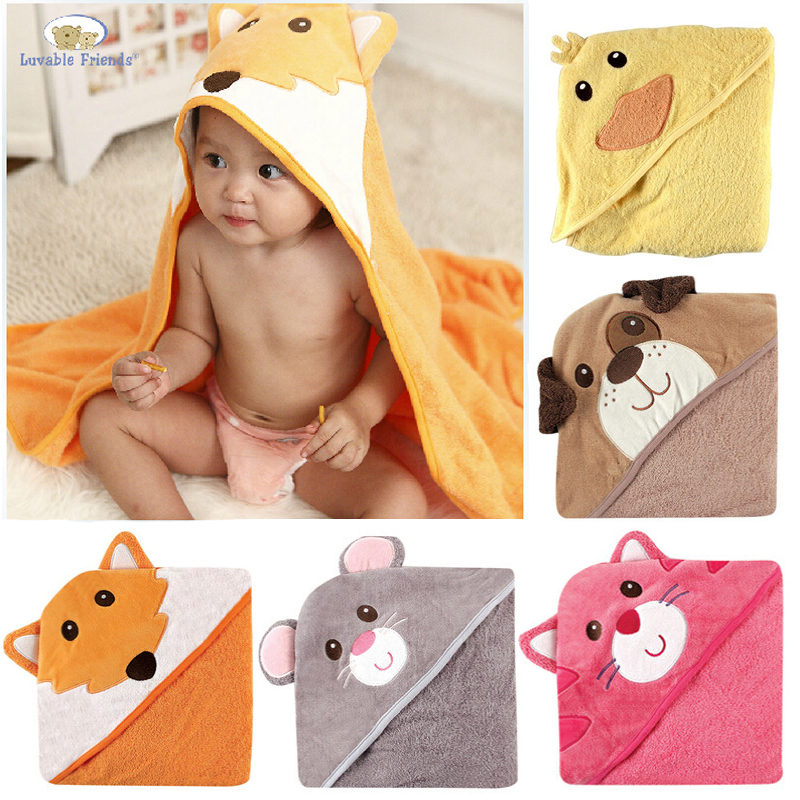 New Luvable Friends Animal Charater Square Hooded Bath Towel Set Baby Product Cartoon Baby Robe 100% Cotton Infant Bath Towels (China (Mainland))