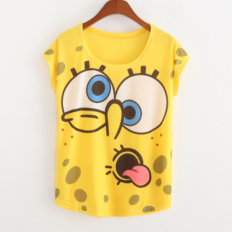Fashion Character Printed Women T-Shirts Short Sleeve Loose T-Shirt Women Lovely Spongebob Thin Tee Shirt For Women CamisetasОдежда и ак�е��уары<br><br><br>Aliexpress