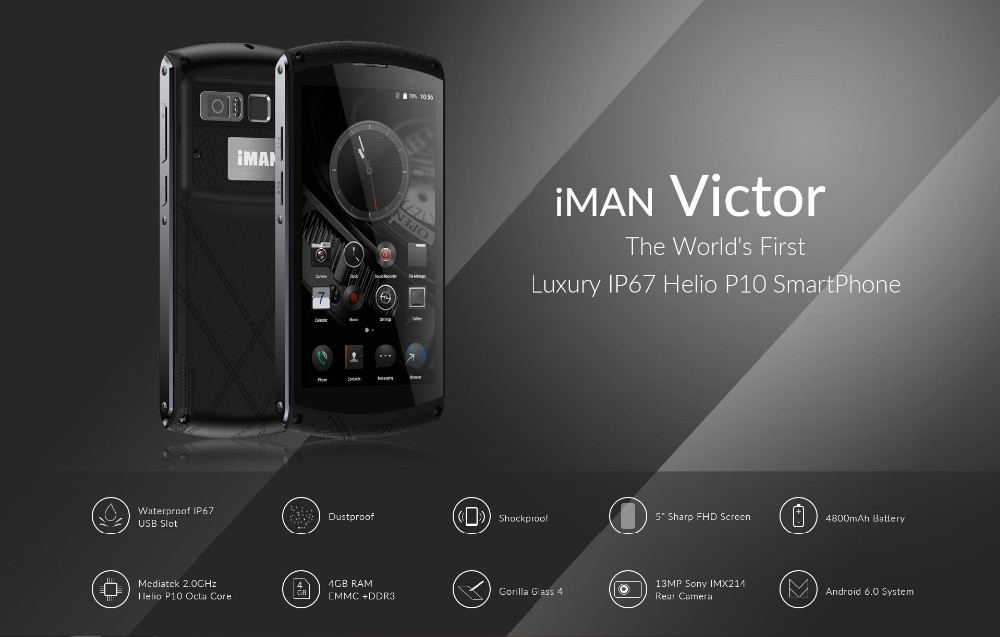 original iMAN Victor+ Waterproof mobile phone 1920*1080 5.0″ Android 6.0 MT6755 octa Core 4G 13.0MP 64GB ROM 4GB RAM Smartphone