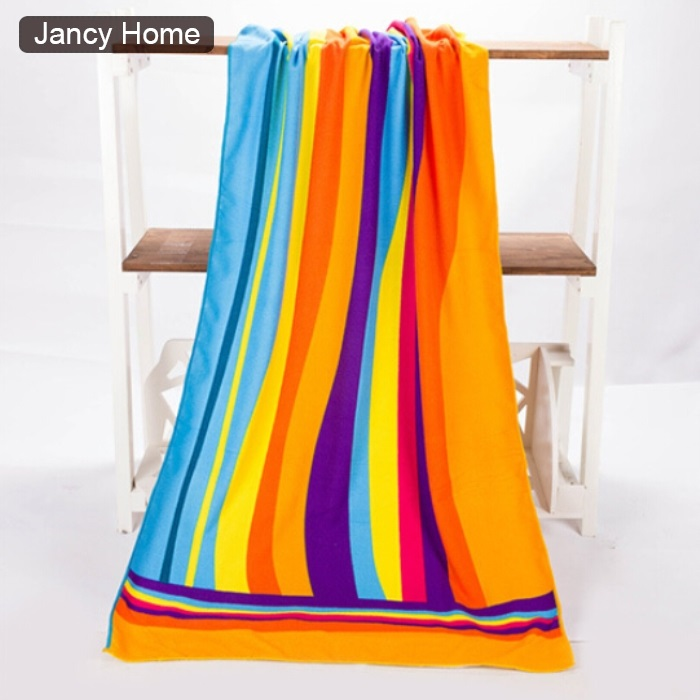 Rainbow colorful stripe orange big sport Absorbent Microfiber Bath Beach Towel Fast Drying beach towel 70*140(China (Mainland))