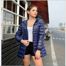 Winter Jacket Women 2015 Brand Warm Winter Coat Women Light Thin Long  90% Down Parka Overcoat hooded Parka manteau femme J040