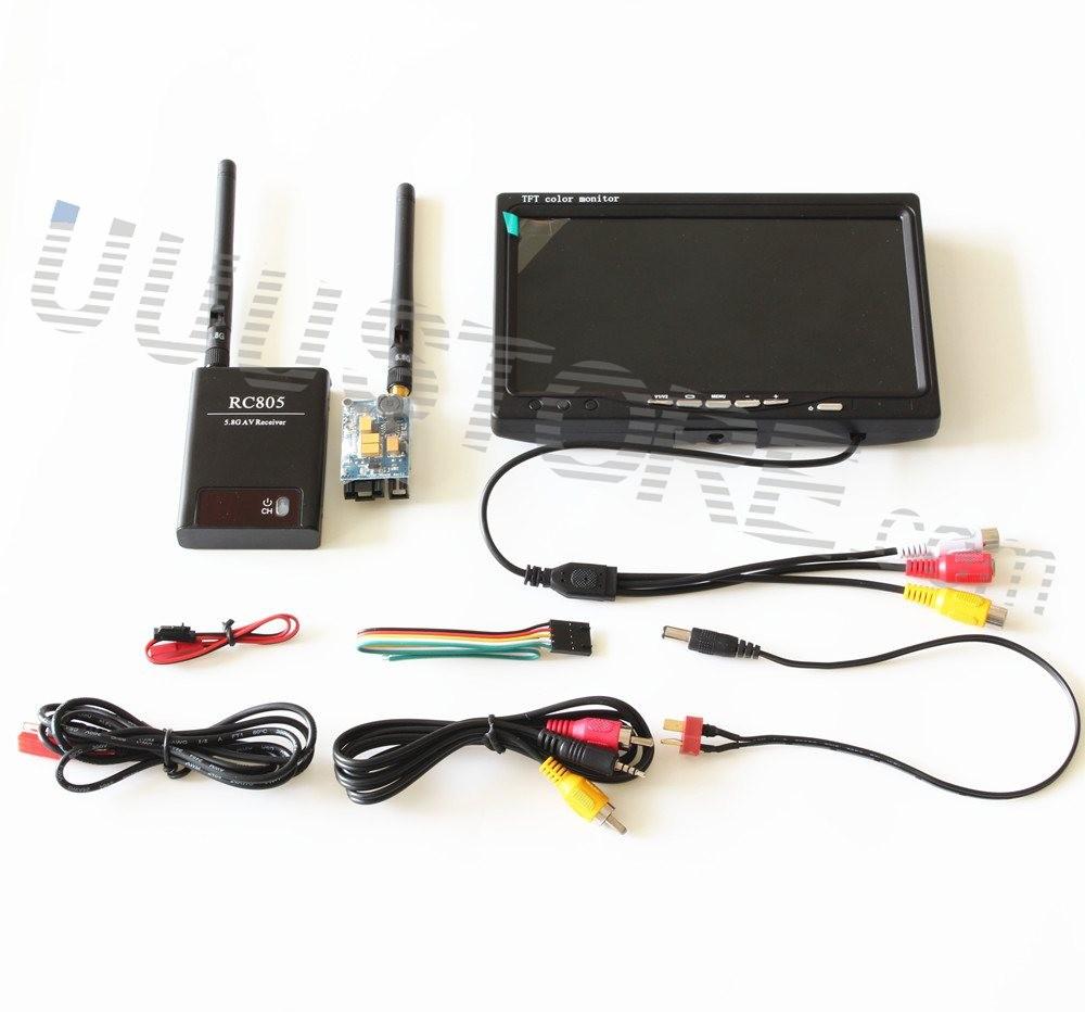 RC FPV Combo Boscam 5.8Ghz 200mw AV Transmitter Receiver No blue HD Monitor For CCTV Gopro hero3+ hero4 SJ4000 DJI Phantom