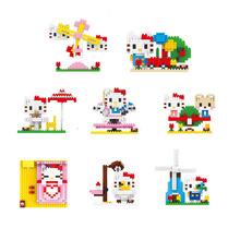 High quality girl kitty model building kit 3D children early education mini block toys (China (Mainland))