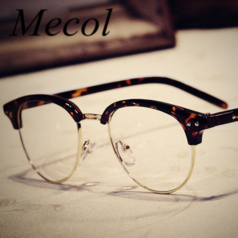 2016 Retro Classic Rivet Women Metal Half Frame Glasses ...