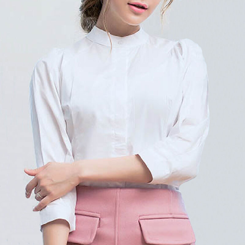 Womens Vintage Lantern Sleeve Blouse 2017 Elegant Ladies New Design Stand Collar Cotton Tops Puff Slim Navy White Shirt - Ecostore store