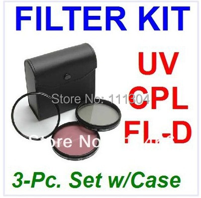 free shipping+ tracking number 1pcs 58mm UV FLD CPL+BAG Filter Set Polfilter for Canon nikon D90 D7000 EOS 650D 600D 550D 1100D(China (Mainland))