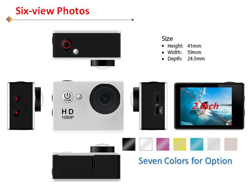Gopro Style A9 Motion Digital camera Car Digital camera Recorder 1080P Full HD 5.0MP 2.0 Inches Screen Helemet 30M Waterproof DV DVR 2015 Newest (5)