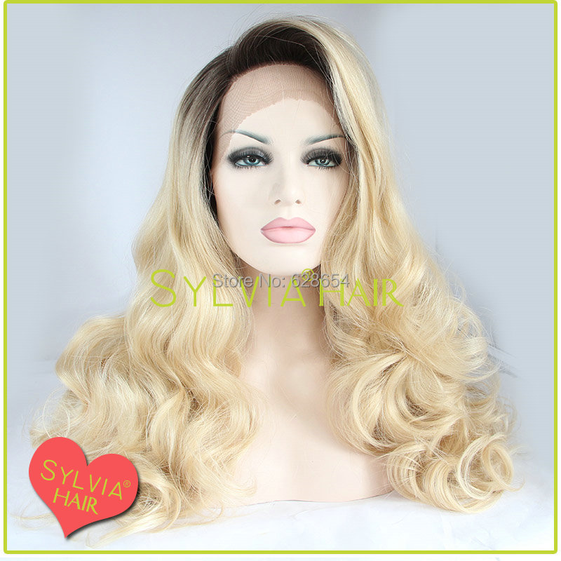 Stock Cheap Long Heat Resistant Synthetic Body Wave Ombre Two Tone blonde Lace Front Hair Wigs Black Women - Unique Beauty Products Factory store